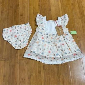 NWT Mimi & Maggie Tide Pool Dress & Diaper Cover